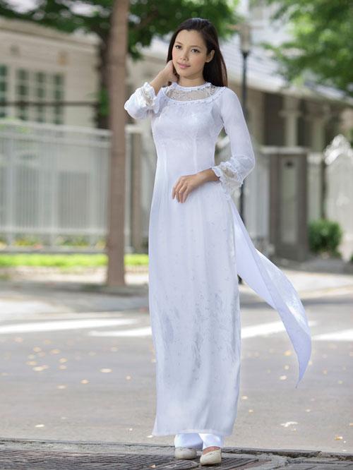 Áo dài học sinh trắng cổ tròn